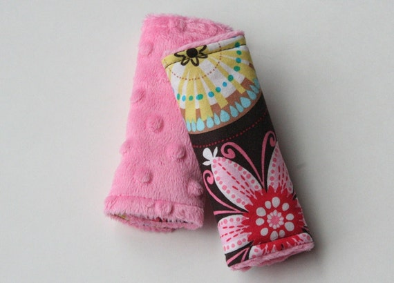 Reversible Strap Covers - Carnival Bloom with Dark Pink Minky