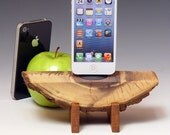 Natural wood Docking station for ANY iPhone, or iPod. Includes wall charger. Live edge wood iPhone dock. 508.  Beautiful grain.