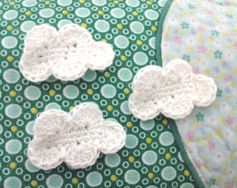 6pcs - White Cloud Crochet Appliques - made to order
