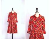 Red GARANCE Tartan Day Dress Vintage 1950s