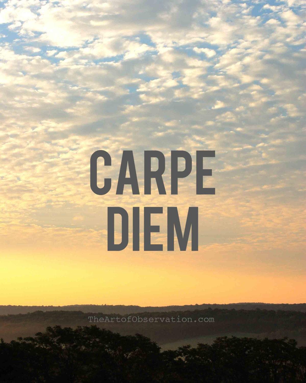 Motivational Quotes: Carpe Diem Art Inspirational Quote Sunrise Photography Print