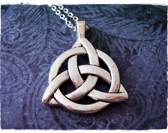 Large Celtic Trinity Knot Necklace - Antique Pewter Celtic Trinity Knot Charm on a Delicate Silver Plated Cable Chain or Charm Only