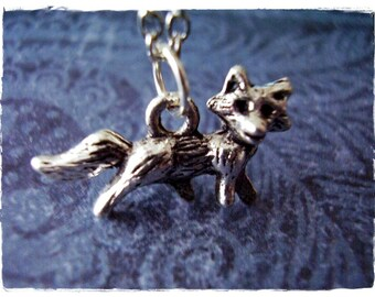 Small Fox Necklace - Antique Pewter Fox Charm on a Delicate Silver Plated Cable Chain or Charm Only