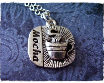 Silver Mocha Necklace - Antique Pewter Mocha Charm on a Delicate Silver Plated Cable Chain or Charm Only