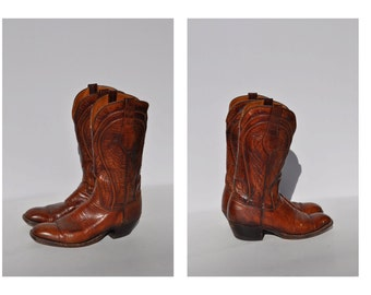 vintage LUCCHESE leather boots cowboy roper boots work size 9.5 B
