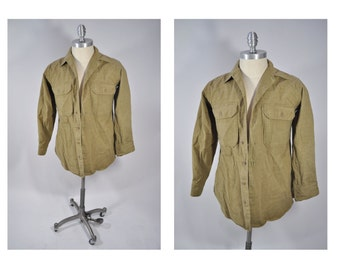 vintage army military wool shirt 1940s work wear gussets small