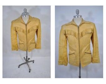 vintage leather jacket custom deerskin fringe western country rock and roll