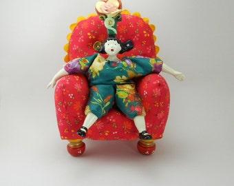 Little Red Pincushion Chair