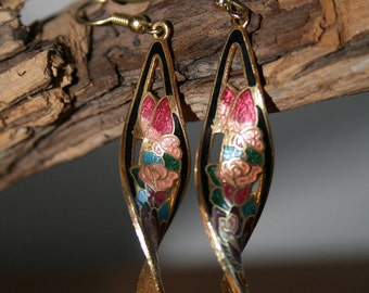 VTG Vintage Rose and Butterfly Enamel Earrings