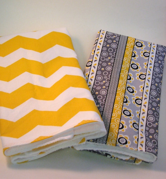 Grey Dish Rags: Mustard Yellow And Grey Set Of Towels By Embroideryboutique1