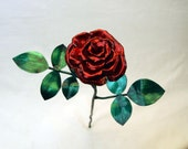 Medium Blossoming Rose Metal Copper Sculpture