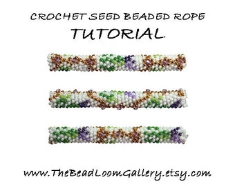 Beaded Rope Pattern - PDF File Tutorial - Crochet Seed Beaded Rope with Swarovski Crystals - Vol.9 - Thistle Rope-2