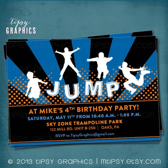 Jump Trampoline or Bounce House Birthday Party Invite for Big – Bounce Party Invitation