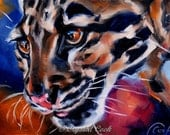 Clouded Leopard oil painting original fine art 5 x 7 colorful wildlife home decor
