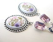 Flower Garden earrings - pink and purple flowers on silver - amethyst jewels - springtime