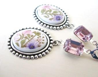 Flower Garden earrings - pink and purple flowers on silver - amethyst jewels - springtime