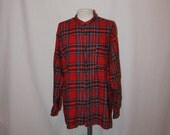 Last Chance Moving Sale My Boyfriends Shirt Amazing 1980s spanish over sized mens red plaid shirt unisex