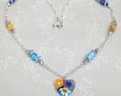 Tiny Dancer one of a kind Multi colorful Millefiori Venetian glass heart pendant on Figaro styled chain w Preciosa silvered flower bead caps
