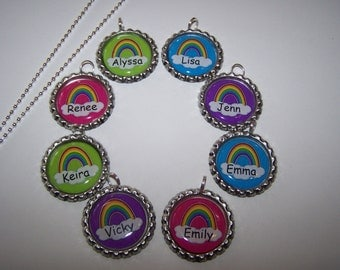 Personalized Rainbow Party Favors / Rainbow Necklaces / Girls Party Favors