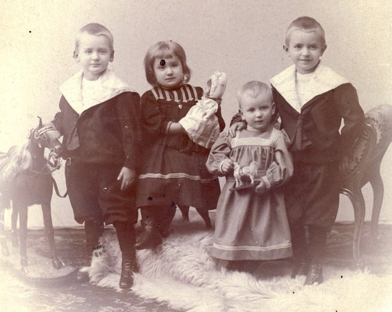 Children Showing Their NEW TOYS in 1890s Boudoir Card Photo Berlin Germany