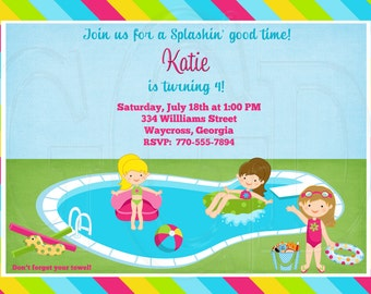 Pool Party Birthday Invitation-Digital File