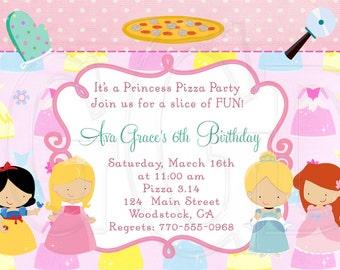 Princess Pizza Party Invitation - Digital File
