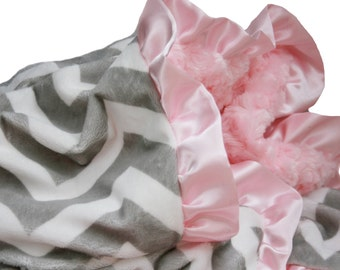 Gray and White Chevron Minky Baby Blanket with Powder pink back and Satin Ruffle Trim- Stroller Size