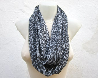 Leopard pattern, Chiffon scarf, infinity Scarves, Loop Animal Accessories, Tube Necklace Scarf, Circle Neckwarmer, Black, Grey