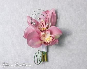 Mini Orchid Boutonniere with rhinestones. CUSTOM cymbidium orchids, Green Mauve Lavender lavander lilac pink, rhinestones pearls