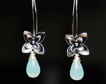 Single silver orchid flower aqua chalcedony earrings