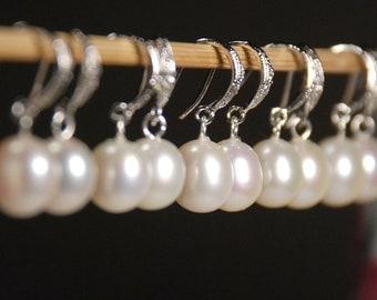 5 pair set freshwater pearl earrings, bridal earrings, bridesmaid earrings, cubic zirconia ear wires, jewelry gift