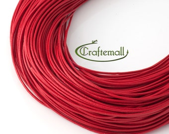 Red leather cord - round 1mm leather cord - genuine leather cord - 5 meters LC-1MM-01