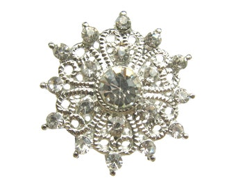 5 Crystal Rhinestone buttons for Wedding Invitation Card, Shoe Clip, Hair Accessories, Bouquet RB-120 (25mm or 1inch)