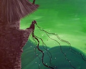 Because of Radishes - Original Large Abstract Fine Art Fantasy Fairy Tale Rapunzel Green Surreal 24x36 By Elizabeth Pfleeger