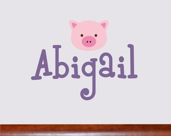 Personalized Name With piggy face, Custom Vinyl wall decals stickers, nursery, kids & teens room, removable decals stickers