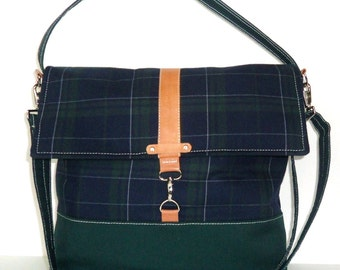 Navy Preppy Plaid Messenger Bag with Natural Leather Trim