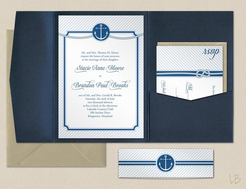 Sailboat Wedding Invitations: Nautical Wedding Pocket Invitation Sample Navy By