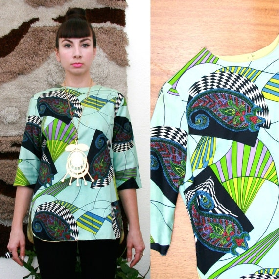 Vintage 60s Psychedelic Print Tunic Large