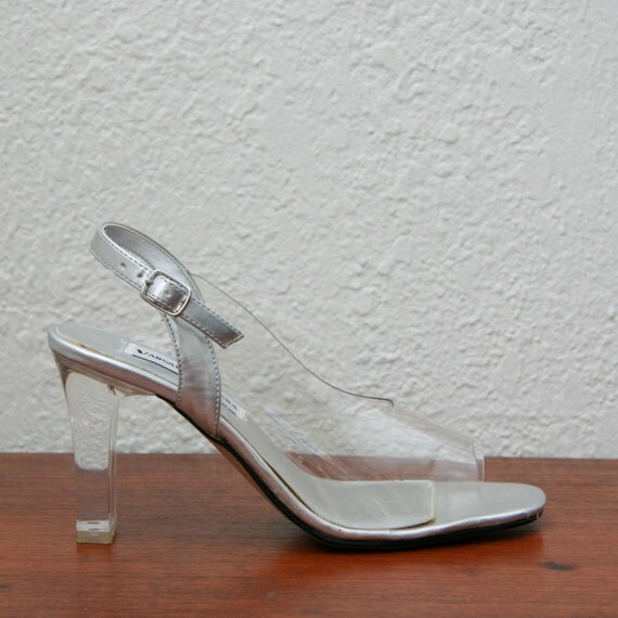 Vintage 90s Metallic Silver and Clear Lucite Chunky Heels 7