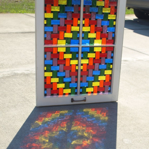 "Stained Glass Mosaic Wooden Window Repurpose ""The Rainbow Weaver"""