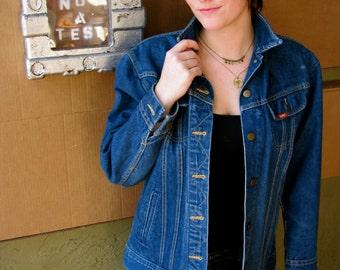 Vintage 1970s Ms. LEE Denim JEAN Jacket Cowgirl Western Coat