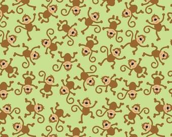 Riley Blake Designs  Zoofari Green Monkeys Fabric - 1 yard