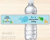 Personalized 1st Birthday Water Bottle Labels with Ocean Theme - Ocean Onederland - Whale, Starfish, Turtle - 35 labels