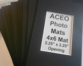 """ACEO Photo Mat Kits 4x6 with ACEO size opening (actual 2.25"""" x 3.25"""") Quantity (24) Black + Backs & Bags"""