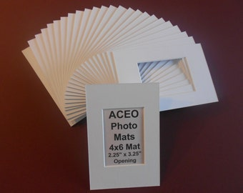 ACEO Photo Mat Kits 4x6 with ACEO size window opening Quantity (20) White Kits