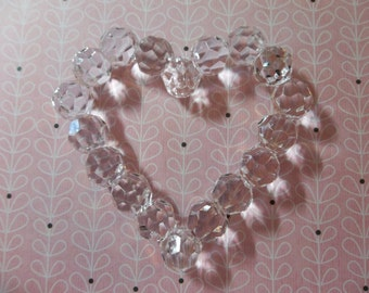 Large 70mm Crystal Clear Heart Shaped Lucite Connector or Pendant - Qty 1