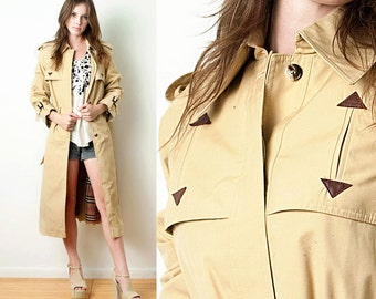 Tan Trench Coat Vintage 70s Classic Plaid Lining Raglan Sleeves ONE SIZE S M L small medium large