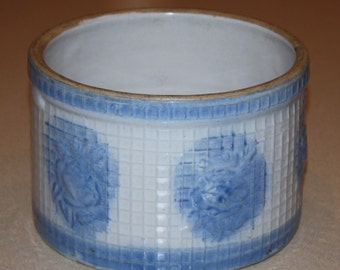 Antique McCoy Blue & White Waffle Weave Butter Crock, or Salt Box with Raised Roses