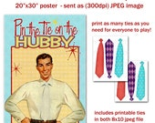 """Printable DIY Pin the Tie on Hubby - Retro Housewife Bridal Shower Party Game Poster 20"""" x 30"""""""