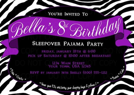 Printable DIY Zebra Print Sleepover Pajama Birthday Party – Zebra Party Invitations